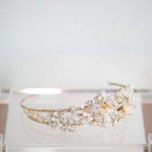 Wedding Headband Crystal Pearl Antique Gold Bride